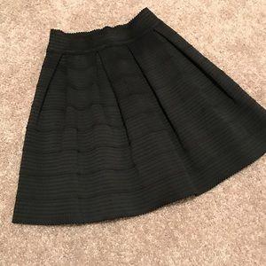 Express Black bandage high waisted flare skirt